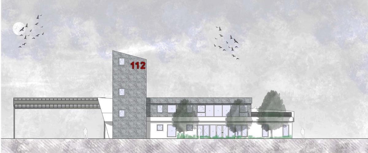 """In Lindenholzhausen soll im Baugebiet """"Auf dem Oberfeld"""" ein neues Feuerwehrgerätehaus gebaut werden. Die Skizze zeigt die Planung aus der Richtung Süd-Ost. entwurf: architekturbüro Petry"""