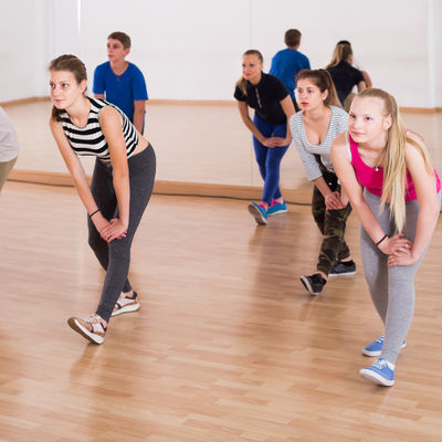 Active training  in the dance studio